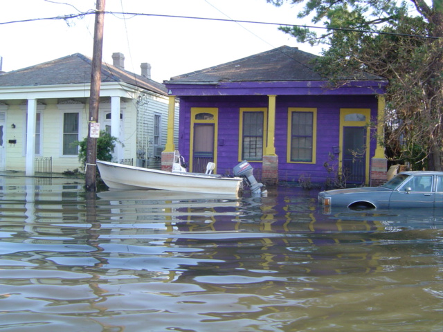 Flooded town after a hurricane