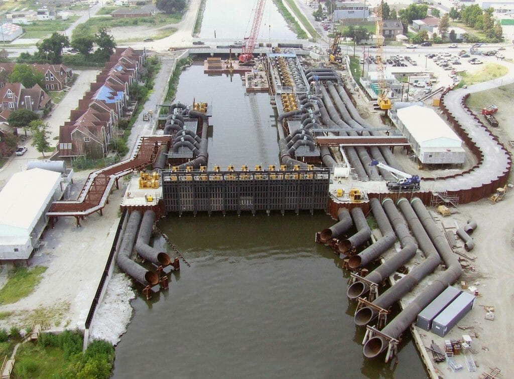 Aerial view of pump station