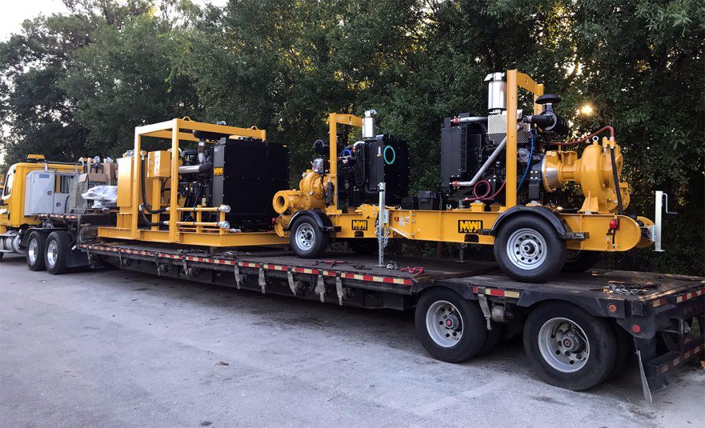 Water pump on truck trailer